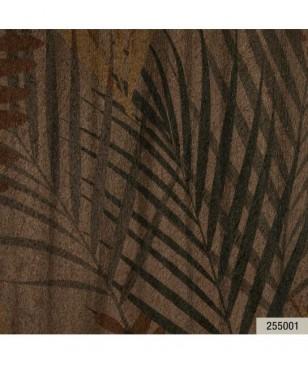Tapet ambient din vinil maro model cu frunze 70 cm latime Animalier Portofino 255001