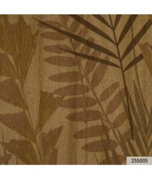 Tapet in living, ocru model cu frunze 70 cm latime Animalier Portofino 255005