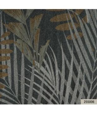 Tapet living preturi bune, din vinil gri model cu frunze 70 cm latime Animalier Portofino 255006
