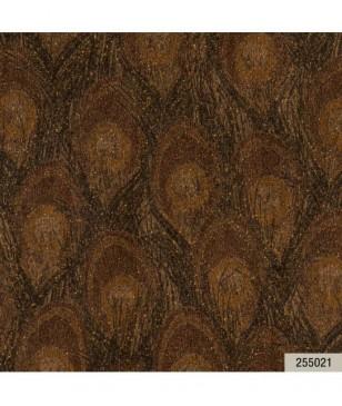 Tapet pentru hol sau alta incapere, din vinil maro model pene paun 70 cm latime Animalier Portofino 255021