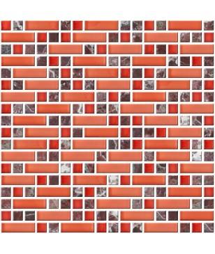Mozaic Rosu Negru Portocaliu din Sticla & Piatra Midas